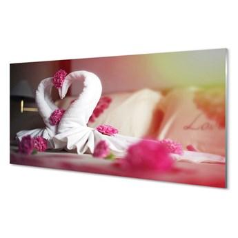 Obraz na szkle Ręczniki łabędzie kwiatki