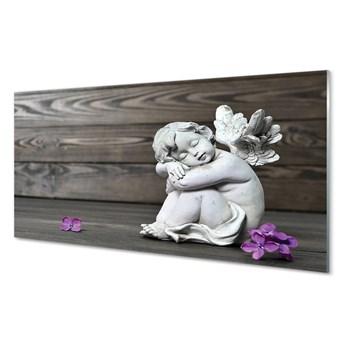 Obraz na szkle Śpiący anioł kwiaty deski