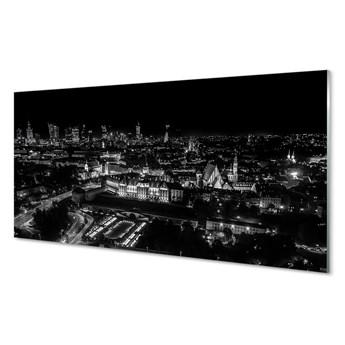 Obrazy na szkle Warszawa Panorama noc wieżowce