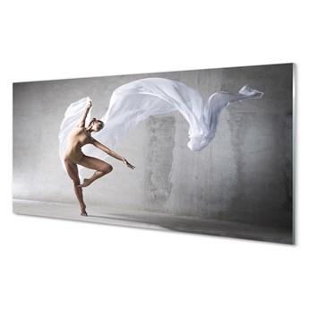 Obrazy na szkle Kobieta taniec biały materiał
