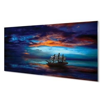 Obraz na szkle Chmury statek morze wieczór