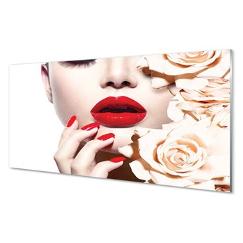 Obraz na szkle Róże kobieta czerwone usta