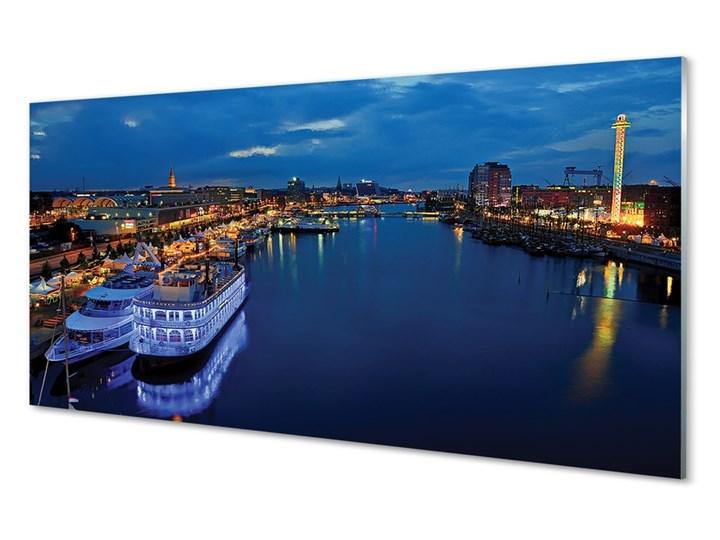 Obrazy na szkle Statek morze miasto nocą niebo Wzór Pojazdy Wymiary 50x125 cm
