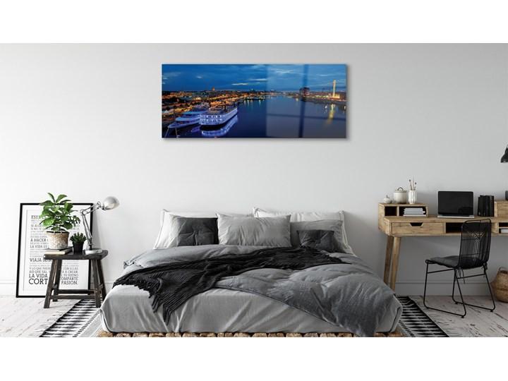 Obrazy na szkle Statek morze miasto nocą niebo Wzór Natura Wymiary 70x140 cm
