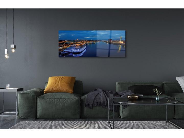 Obrazy na szkle Statek morze miasto nocą niebo Wymiary 50x100 cm Wymiary 70x140 cm