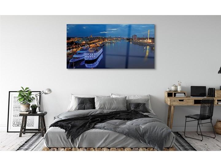 Obrazy na szkle Statek morze miasto nocą niebo Wymiary 60x120 cm