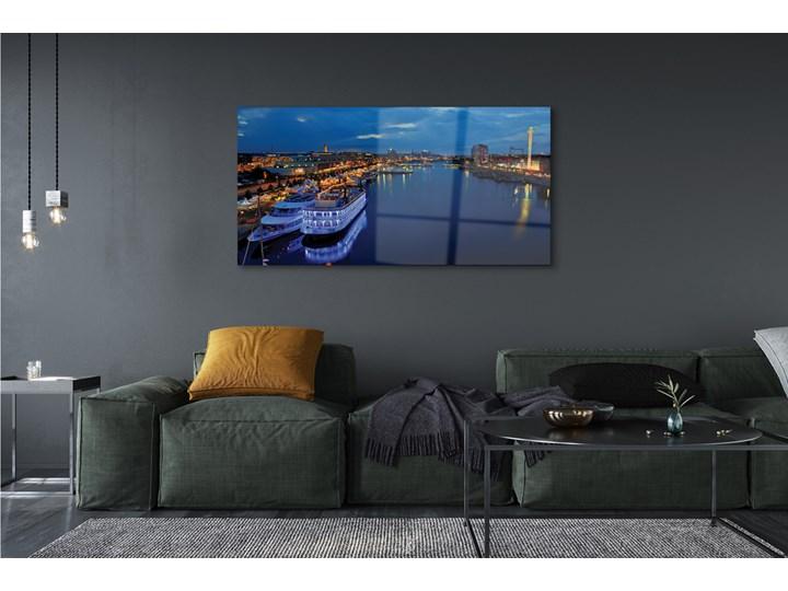 Obrazy na szkle Statek morze miasto nocą niebo Wymiary 60x120 cm Wzór Miasta