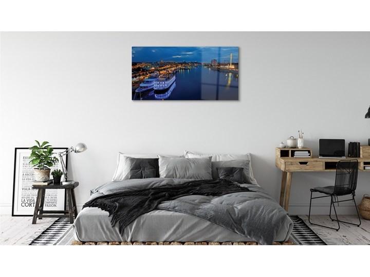 Obrazy na szkle Statek morze miasto nocą niebo Wymiary 70x140 cm Wzór Miasta
