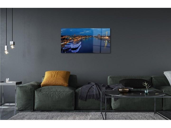 Obrazy na szkle Statek morze miasto nocą niebo Wzór Pojazdy