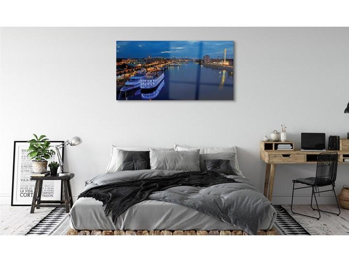 Obrazy na szkle Statek morze miasto nocą niebo Pomieszczenie Salon