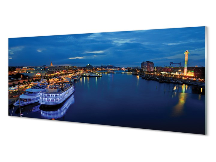 Obrazy na szkle Statek morze miasto nocą niebo Wzór Natura Wymiary 60x120 cm