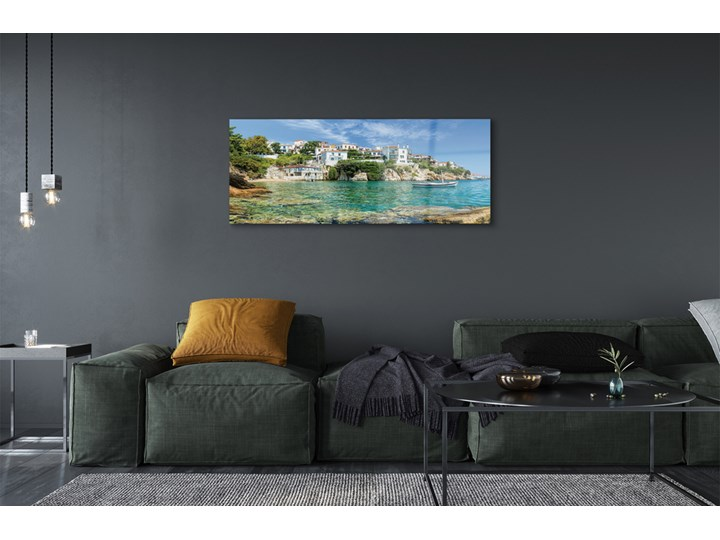 Obrazy na szkle Grecja Morze miasto natura Kolor Pomieszczenie Salon