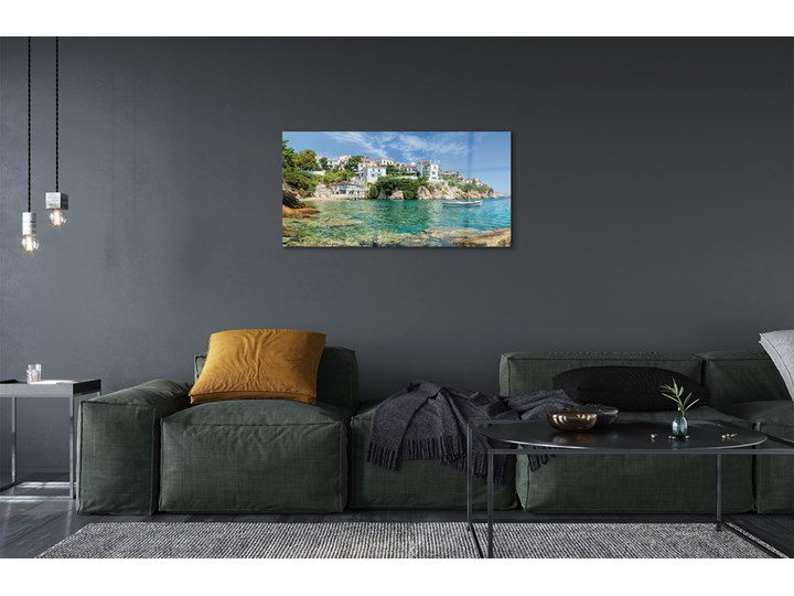 Obrazy na szkle Grecja Morze miasto natura Kolor Wymiary 50x100 cm