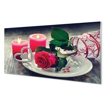 Obraz na szkle Róża serce świeczki