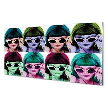 Obraz na szkle Kobieta kolorowe włosy okulary