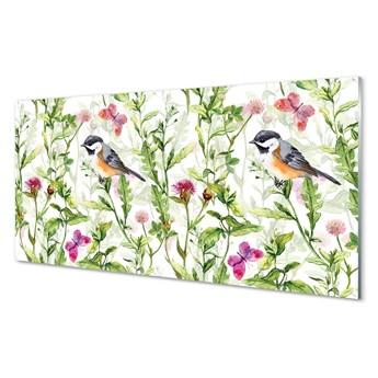 Panel Szklany Malowany ptak w trawie