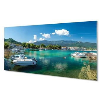 Panel Szklany Grecja Przystań morze góry