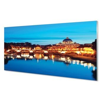 Panel Szklany Rzym Rzeka mosty zachód słońca
