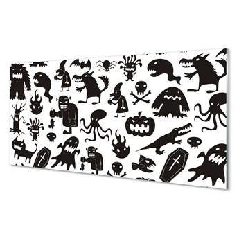 Szklany Panel Białe tło czarne stwory