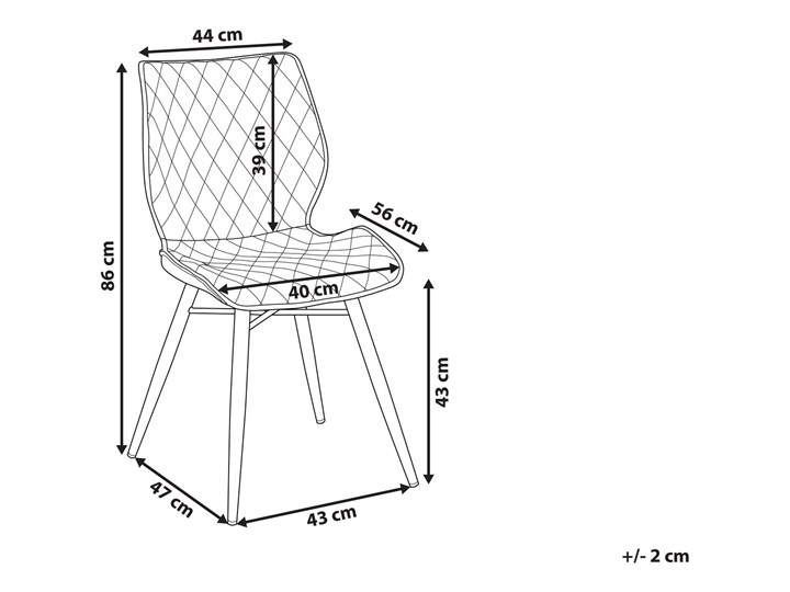 Zestaw 2 krzeseł niebieskich tapicerowanych z metalowymi czarnymi nogami do jadalni styl nowoczesny industrialny Drewno Tkanina Szerokość 44 cm Tworzywo sztuczne Wysokość 86 cm Pikowane Głębokość 56 cm Tapicerowane Pomieszczenie Jadalnia