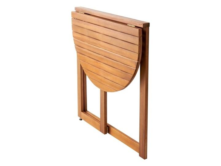 Stół półokrągły GoodHome Virginia 70 cm Drewno Stoły rozkładane Stoliki balkonowe Kategoria Stoły ogrodowe Kolor Brązowy