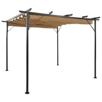 VidaXL Pergola ogrodowa ze zwijanym dachem, taupe, 3x3 m, 180 g/m²