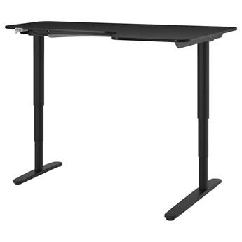 IKEA BEKANT Biurko narożne praw/siedz/stoj, Okl jesionowa bejcowana na czarno czarny, 160x110 cm