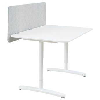 IKEA BEKANT Biurko z ekranem, biały/szary, 120x80 48 cm