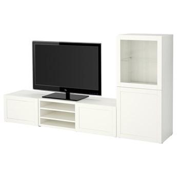 IKEA BESTÅ Kombinacja na TV/szklane drzwi, Biały/Hanviken białe szkło przezroczyste, 240x42x129 cm