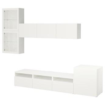 IKEA BESTÅ Kombinacja na TV/szklane drzwi, Biały/Lappviken białe szkło przezroczyste, 300x42x211 cm