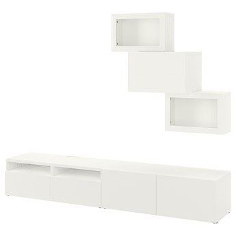 IKEA BESTÅ Kombinacja na TV/szklane drzwi, Biały/Lappviken białe szkło przezroczyste, 240x42x190 cm