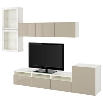 IKEA BESTÅ Kombinacja na TV/szklane drzwi, Biały/Selsviken wysoki połysk/ beż szkło bezbarwne, 300x42x211 cm