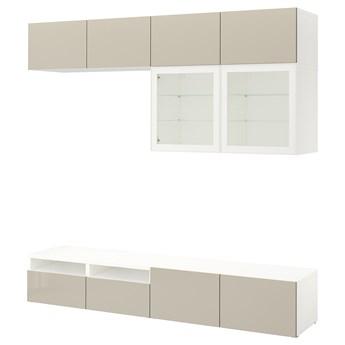 IKEA BESTÅ Kombinacja na TV/szklane drzwi, Biały/Selsviken wysoki połysk/ beż szkło bezbarwne, 240x42x231 cm