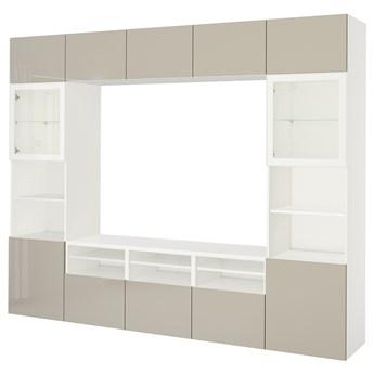 IKEA BESTÅ Kombinacja na TV/szklane drzwi, Biały/Selsviken wysoki połysk/ beż szkło bezbarwne, 300x42x231 cm