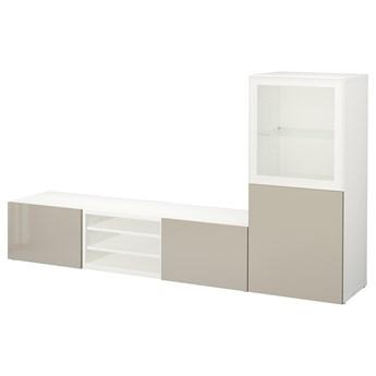 IKEA BESTÅ Kombinacja na TV/szklane drzwi, Biały/Selsviken wysoki połysk/ beż szkło bezbarwne, 240x42x129 cm
