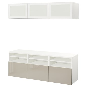 IKEA BESTÅ Kombinacja na TV/szklane drzwi, Biały/Selsviken wysoki połysk/ beż szkło matowe, 180x42x192 cm