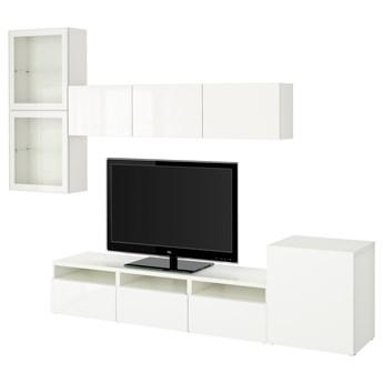 IKEA BESTÅ Kombinacja na TV/szklane drzwi, Biały/Selsviken wysoki połysk biały szkło bezbarwne, 300x42x211 cm