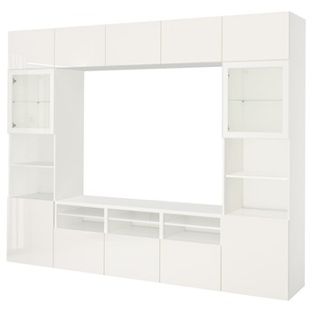 IKEA BESTÅ Kombinacja na TV/szklane drzwi, Biały/Selsviken wysoki połysk biały szkło bezbarwne, 300x42x231 cm