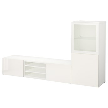 IKEA BESTÅ Kombinacja na TV/szklane drzwi, Biały/Selsviken wysoki połysk biały szkło bezbarwne, 240x42x129 cm