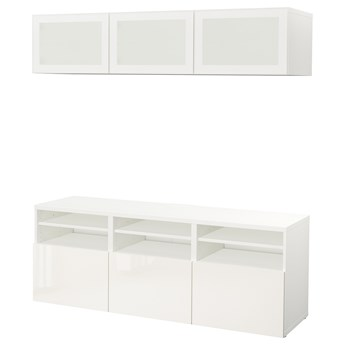 IKEA BESTÅ Kombinacja na TV/szklane drzwi, Biały/Selsviken wysoki połysk biały szkło matowe, 180x42x192 cm