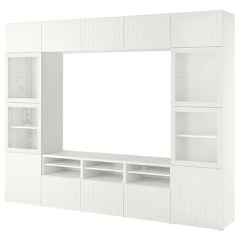 IKEA BESTÅ Kombinacja na TV/szklane drzwi, Biały Sutterviken/Sindvik białe szkło przezroczyste, 300x42x231 cm