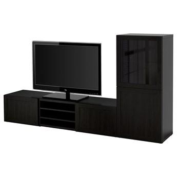 IKEA BESTÅ Kombinacja na TV/szklane drzwi, Czarnybrąz/Hanviken czarnobrązowe szkło przezroczyste, 240x42x129 cm