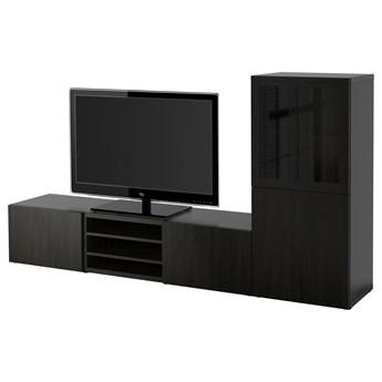 IKEA BESTÅ Kombinacja na TV/szklane drzwi, Czarnybrąz/Lappviken czarnobrązowe szkło przezroczyste, 240x42x129 cm