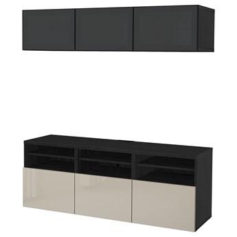 IKEA BESTÅ Kombinacja na TV/szklane drzwi, Czarnybrąz/Selsviken wysoki połysk/beż przydymione szkło, 180x42x192 cm