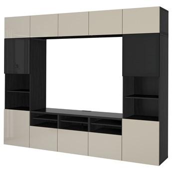 IKEA BESTÅ Kombinacja na TV/szklane drzwi, Czarnybrąz/Selsviken wysoki połysk/beż przydymione szkło, 300x42x231 cm