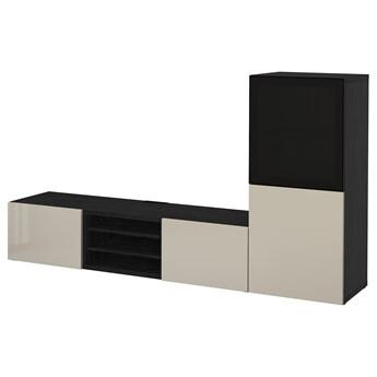 IKEA BESTÅ Kombinacja na TV/szklane drzwi, Czarnybrąz/Selsviken wysoki połysk/beż przydymione szkło, 240x42x129 cm