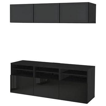 IKEA BESTÅ Kombinacja na TV/szklane drzwi, Czarnybrąz/Selsviken wysoki połysk/czarny dymione szkło, 180x42x192 cm