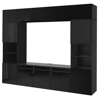 IKEA BESTÅ Kombinacja na TV/szklane drzwi, Czarnybrąz/Selsviken wysoki połysk/czarny dymione szkło, 300x42x231 cm