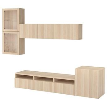 IKEA BESTÅ Kombinacja na TV/szklane drzwi, Dąb bejcowany na biało/Lappviken dąb bejcowany biało szk bezbarwne, 300x42x211 cm