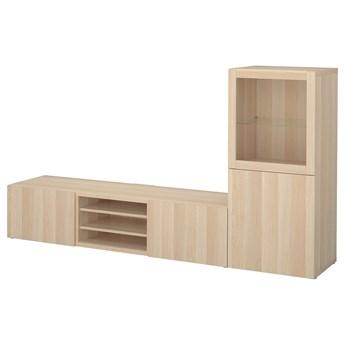 IKEA BESTÅ Kombinacja na TV/szklane drzwi, Dąb bejcowany na biało/Lappviken dąb bejcowany biało szk bezbarwne, 240x42x129 cm